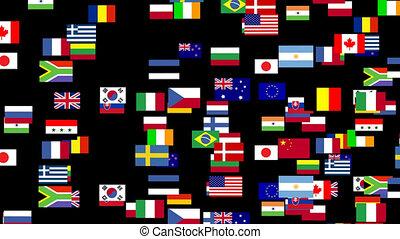 welt, 2, flaggen, belebt