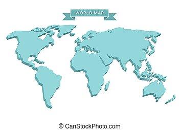 welt, 3d, landkarte