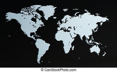 welt, 3d, render, landkarte