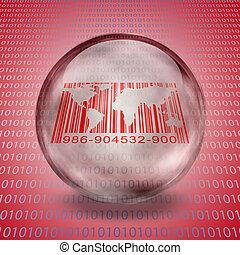 welt, barcode, mit, binärer