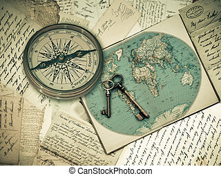 welt, begriff, kompaß, landkarte