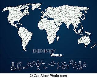 welt, chemie, hintergrund, landkarte
