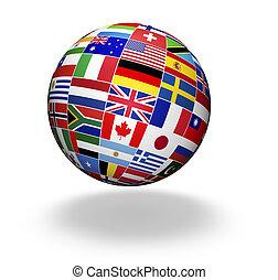 welt, flaggen, international, erdball