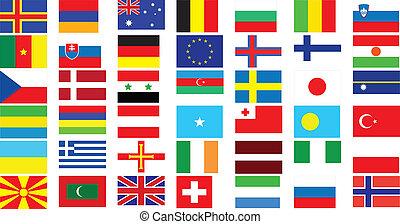 welt, flaggen