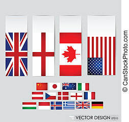 welt, flags., vektor, illustration.
