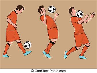 welt, fußball, silhouette, becher, spieler