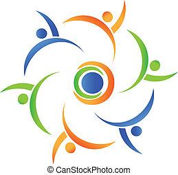 welt, gemeinschaftsarbeit, ungefähr, logo