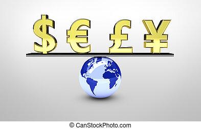 welt, global, gleichgewicht, wirtschaft