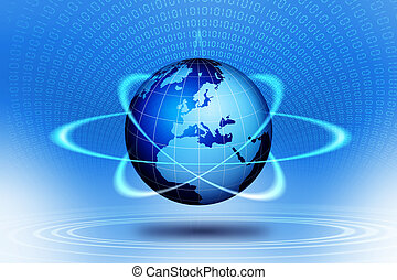 welt globus, action., technologisch