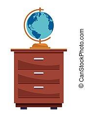 welt globus, erde, karikatur, kabinett