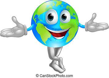welt globus, maskottchen, mann