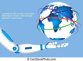 welt globus, roboter, halten hand