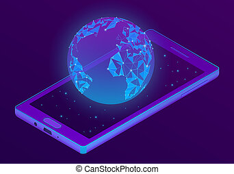 welt, isometrisch, smartphone, hologramm, 3d