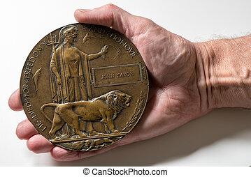 welt, kriegsbilder, 1, erinnerungs plakette, für, soldat, wer, gestorben, in, 1916