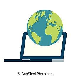 welt, laptop-computer, weißer hintergrund