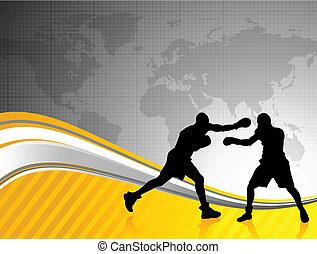 welt, meisterschaft, boxen, hintergrund