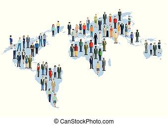 Welt-Mensch - World map with multicultural population