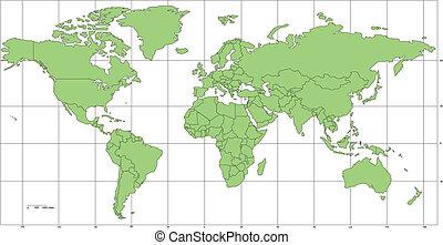 welt, merkator, landkarte, mit, länder, und, länge, breite,...