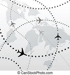 welt, motorflugzeug, flug, reise, pläne, anschlüsse