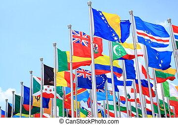 welt, national, flaggen