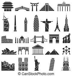 welt, satz, berühmt, ikone, denkmäler