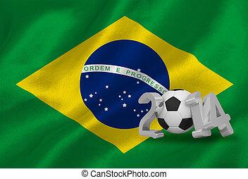 welt schale, 2014, mit, brasil, fahne