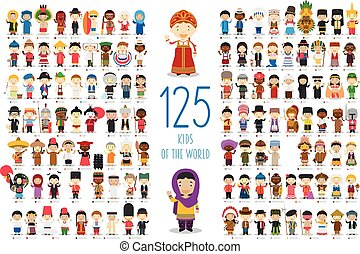 welt, vektor, 125, collection:, karikatur, style., kinder, satz, verschieden, kinder, charaktere, nationalitäten