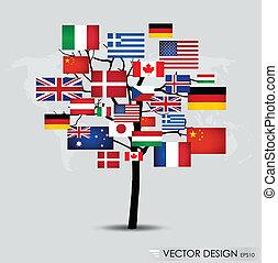 welt, vektor, illustration., flags.