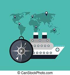 welt, verschicken kreuzfahrt, reise, kompaß