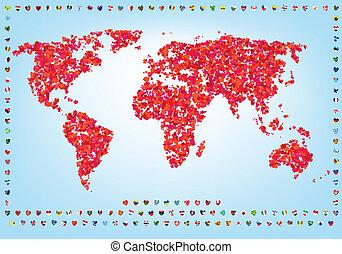 welt, von, liebe, landkarte, mit, flaggen