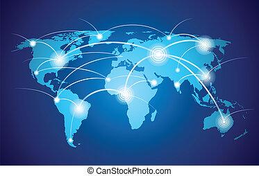 weltkarte, mit, gesamt-netzwerk