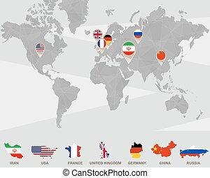 weltkarte, mit, iran, usa, frankreich, vereinigtes königreich, deutschland, porzellan, russland, zeiger