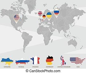 weltkarte, mit, ukraine, russland, frankreich, deutschland, vereinigtes königreich, usa, zeiger