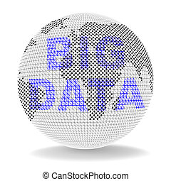 weltweit, rechnen, groß, erdball, abbildung, daten, 3d