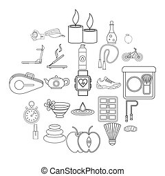 welzijn, iconen, set, schets, stijl