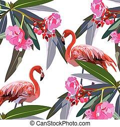 wendekreis, blumen, vögel, flamingo