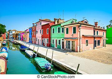 wenecja, burano, włochy, kanał, barwny, wyspa, domy, punkt orientacyjny, łódki