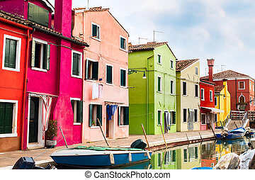 wenecja, burano, wyspa, barwny, domy, punkt orientacyjny