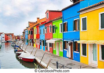 wenecja, burano, wyspa, barwny, włochy, domy, punkt orientacyjny, łódki