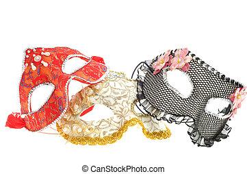 wenecjanin, biały, maska, tło, karnawał