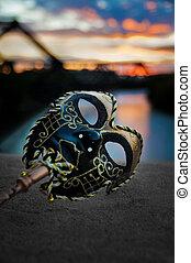 wenecjanin, most, rzeka, maska, zachód słońca