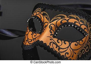 wenecjanin, tradycyjny, karnawał, czarnoskóry, maska, tło.