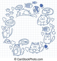 wenig, babykatzen, vektor, katzen, children., muster, ...