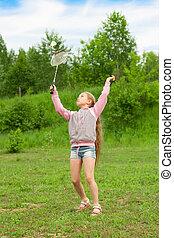 wenig, badminton, m�dchen, spielende