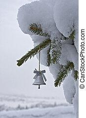 wenig, baum, weihnachtsglocke