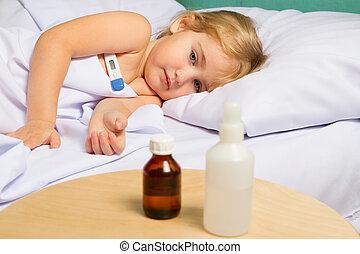 wenig, bed., m�dchen, krank