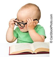 wenig, buch, spielen, brille, kind