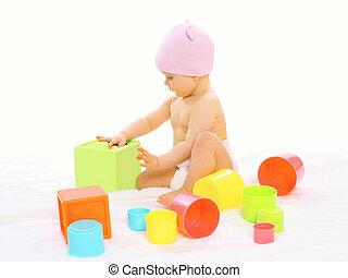 wenig, bunte, Viele, Spielzeuge,  baby, Porträt, spielende