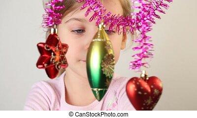 wenig, dekoration, untersuchen, hang., m�dchen, weihnachts...