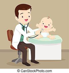 wenig, doktor, kinderarzt, baby, untersuchen